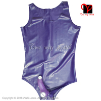 Sexy Latex swimsuit with Penis Sheath condom Round Collar Back Zip Latex Catsuit Rubber bodysuit leotard TC 031