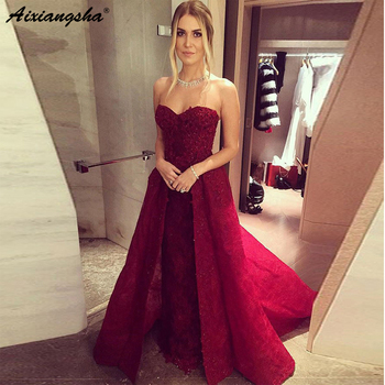 Dark Red Evening Dresses Long 2019 Strapless Lace Evening Dress Styles Cheap Prom Dresses Beaded Formal Party Gowns For Prom
