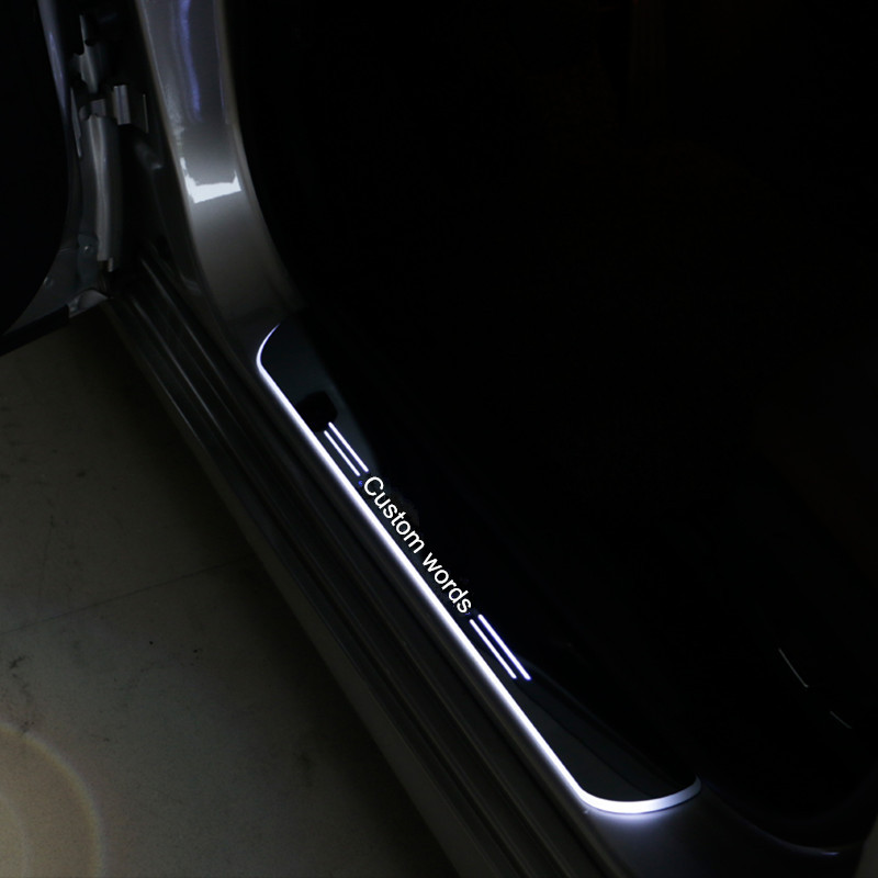 2X LED custom Moving Welcome Lights Door Sill Scuff Plate Pedal for Chevy Malibu waterproof acrylic moving led welcome pedal car scuff plate pedal door sill pathway light for hyundai i30 2013 2014