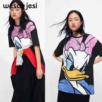 T-shirts pour femmes vêtements pour femmes haut d'été Harajuku 90 s Donald canard imprimer femmes T Shirt Vetement Femme 2019 vêtements coréens