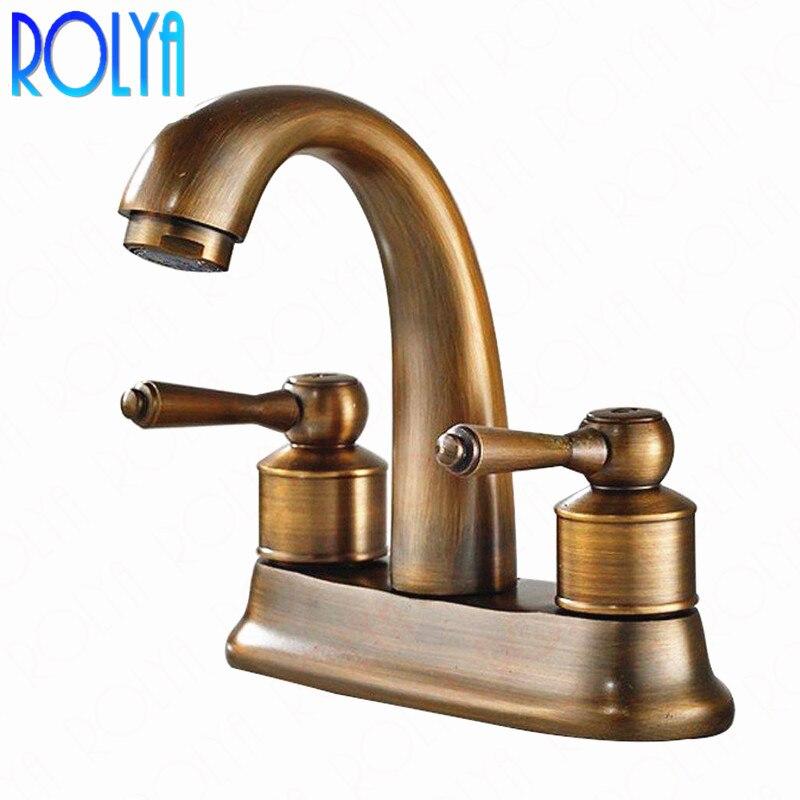 Rolya Antique en laiton centre de table robinet de lavabo salle de bain Vintage ancien Style bassin mitigeur robinets