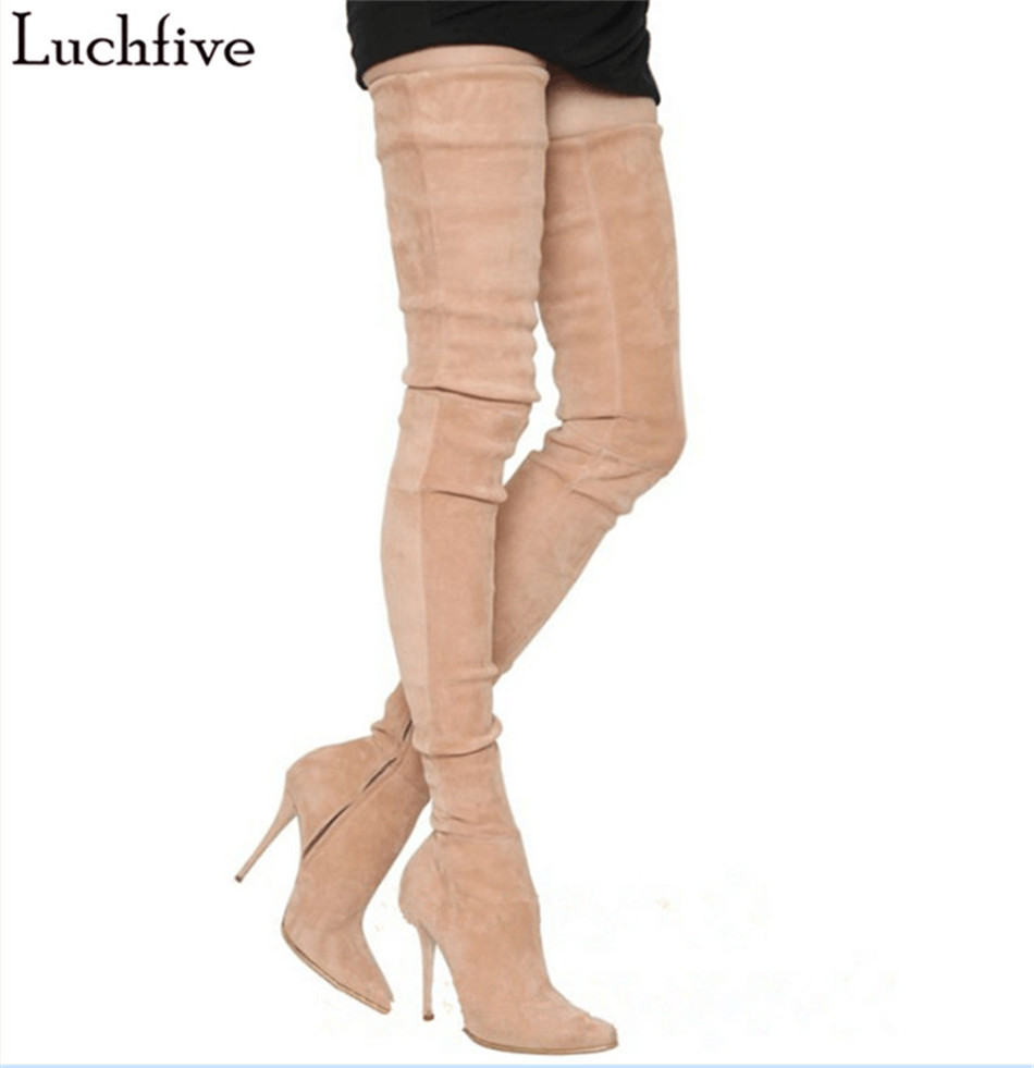 Luchfive 2018 Runway style winter apricot black Over The Knee Boots elastic high heels thigh high Boots for women botas mujer