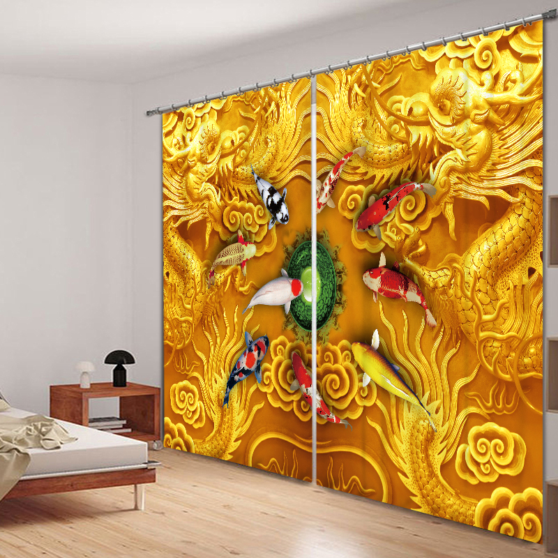 2017 Chinese Dragon Luxury 3D Blackout Curtains For Living room Bedding room Drapes Cotinas para sala Halloween Decorative - 5