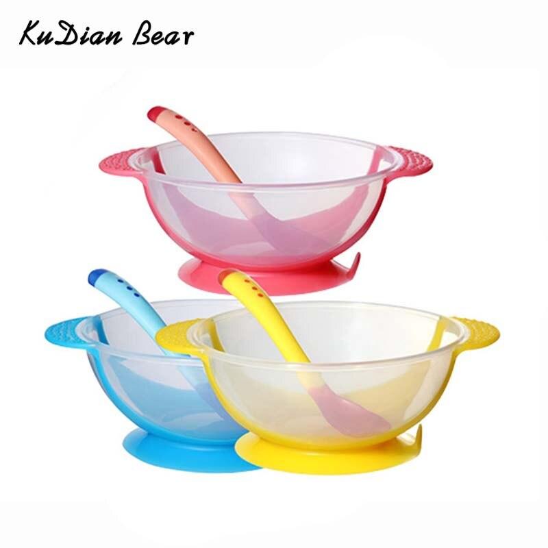Мягкие Детские Кормление малышей чаша скольжению набор для кормления всасывания чаша с Температура зондирования ложка для детей MKL004 PT49