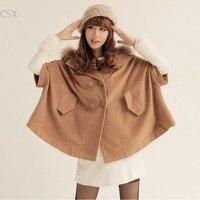 Alishebuy Hot sale da Lady Capa Manto Batwing Solto Casacos Com Capuz Top Coat Inverno Resfriar Todo o Jogo Poncho de Lã Grossa 36