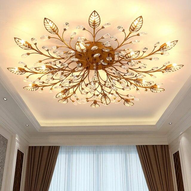 Modern Vintage Indoor LED Crystal Chandelier Lights Lamp Fixtures for Living Room Bedroom House Decoration Home Lights
