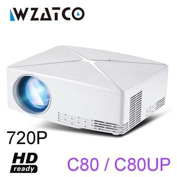 WZATCO C80 a HD MINI Proyector resolución de 1280x720 Android 6,0 WIFI Proyector LED portátil Beamer HD para el juego película de cine en casa