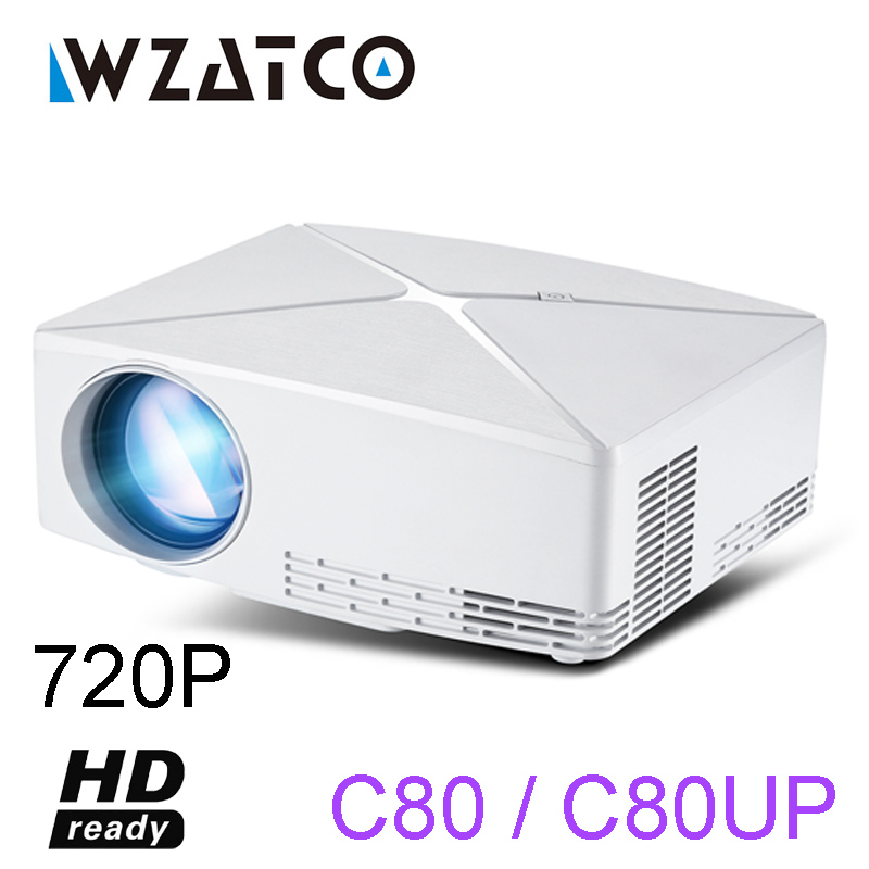 WZATCO C80 UP HD MINI projecteur 1280x720 résolution Android 6.0 WIFI Proyector LED Portable HD projecteur pour jeu film Home Cinema