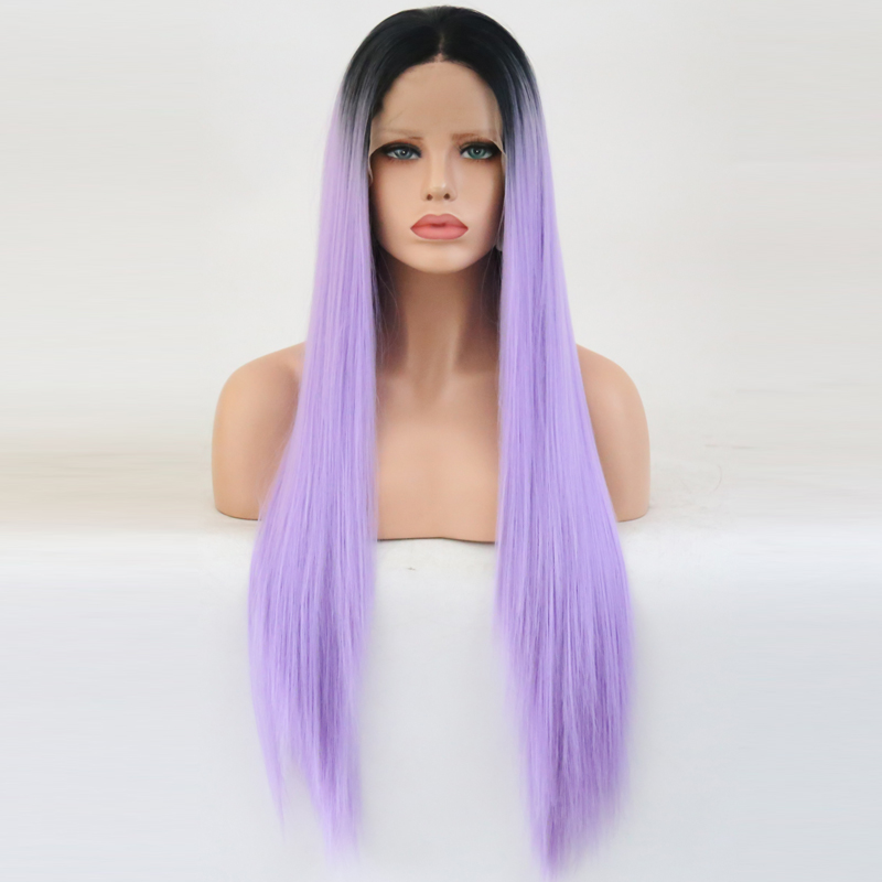 Bombshell Black Roots Ombre Lavender Purple Synthetic Lace Front Wig Heat Resistant Fiber Hair Middle Parting