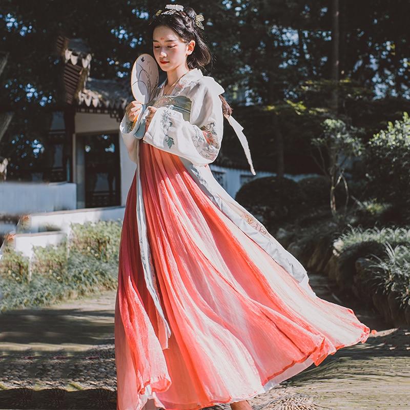 Chinois Hanfu danse orientale Costume traditionnel femmes Tang dynastie vêtements mâle antique Folk vêtements dame scène robe DC1132