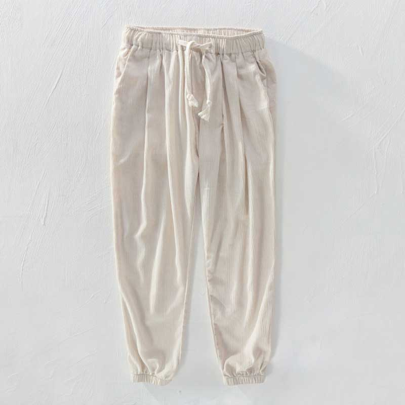 Mens Linen Harem Pleated Pants Baggy Elastic Waist Ankle Length Casual Trousers