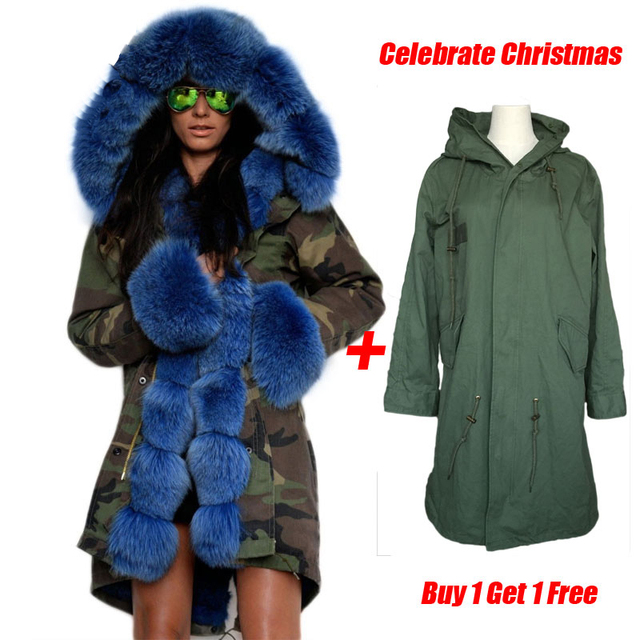 FL Brand American Military Camouflage Army Parka Long Women Military Coat with Thick Real Saga Fox Fur Hooded Wadded Jacket