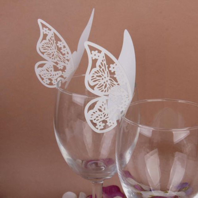 50pcs Diy Butterfly Place Escort Wine Glass Cup Paper Card For