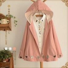Весна Осень Новая женская розовая куртка в стиле каваи японский стиль мультфильм печати с длинным рукавом капюшоном Повседневная Милая верхняя одежда для девочек пальто