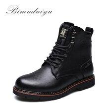 Boots Waterproof Ankle Motorcycle Vintage Male Tactical Warm BIMUDUIYU Brand Winter Men