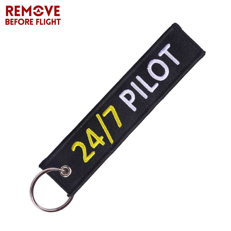 Newest Keychain epaulette style 24/7 Pilot Key Chain Luggage Tag Label Outstanding Embroidery Chain for Aviator Aviation Gifts