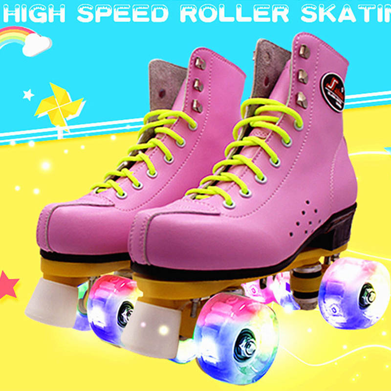 где купить Japy Skate Roller Skates Double Line Skates With LED Lighting Wheels White Unsex Models Adult 4 Wheels Two line Roller Shoes дешево
