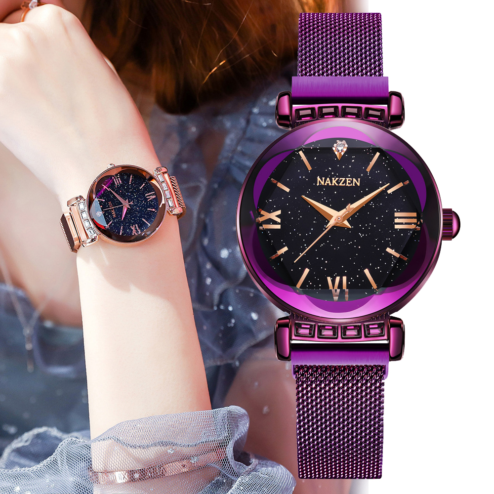 Top Brand Black starry sky Star Ladies Watch Japanese Imported movement Petal Cutting Diamond Magnetic Strap women watches clock|Women's Watches| |  - title=