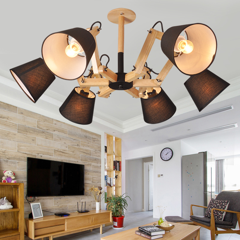 Loft OaK Wooden Spider Modern Creative Handmade Wood E27 Bulb Hanging Pendant Lights fixture de techo