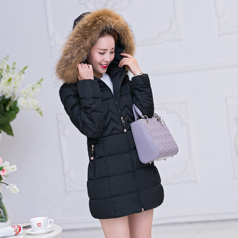 New Winter Jacket Women Fashion Fur Collar Thickening Cotton Padded Jacket Women's Clothing Casual Warm Coat Women & Parka C1539 2014 new european and american style high collar coat fur clothing brand men s fashion casual plaid cotton jacket