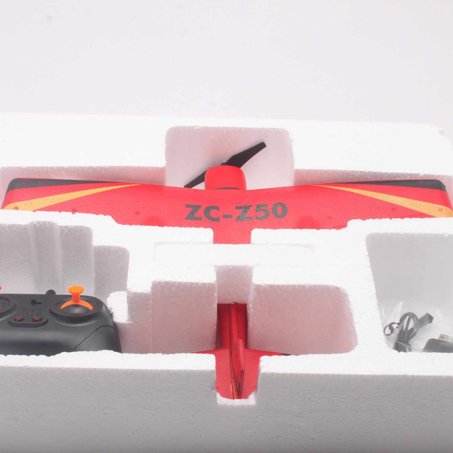 Z50 RC Radio Control Foam Airplanes 2 4G 2CH 34cm Large Wingspan Glider  Fighter Toys Kids Birthday Gift Red Color