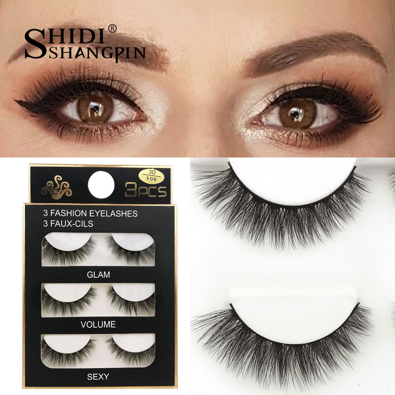 HTB1QtZAXJfvK1RjSszhq6AcGFXam SHIDISHANGPIN 3 pairs mink eyelashes natural fake eye lashes make up handmade 3d mink lashes false lash volume eyelash extension