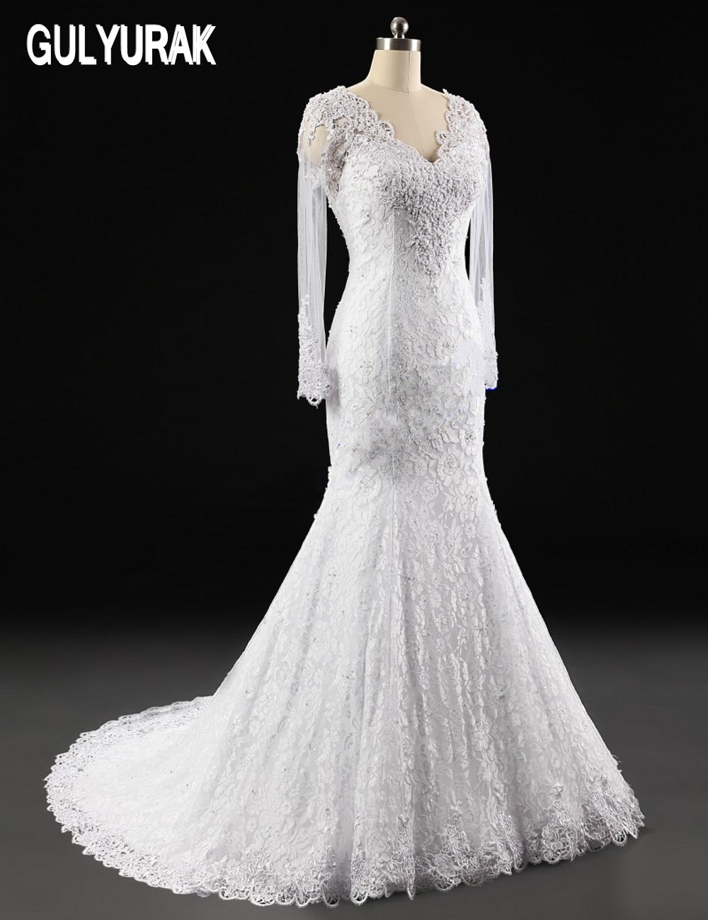 Vestido de noiva 2017 sereia see through back mermaid for Wedding dress with see through back