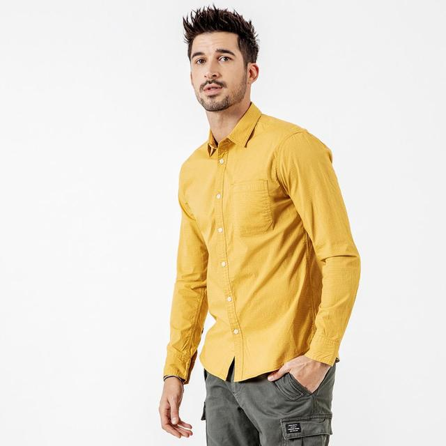 Men's Long Sleeve Shirts Micro Check