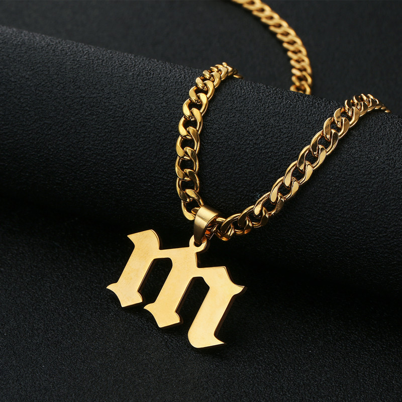 Capital Letter Pendant Choker Necklace Old English Font Inital Nameplate Necklace Golden color Customized Jewelry