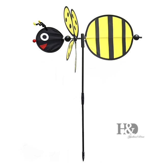 1Pc Cute 3D Large Yellow Animal Bee Windmill Wind Spinner Whirligig Yard  Garden Decor Kids Toy