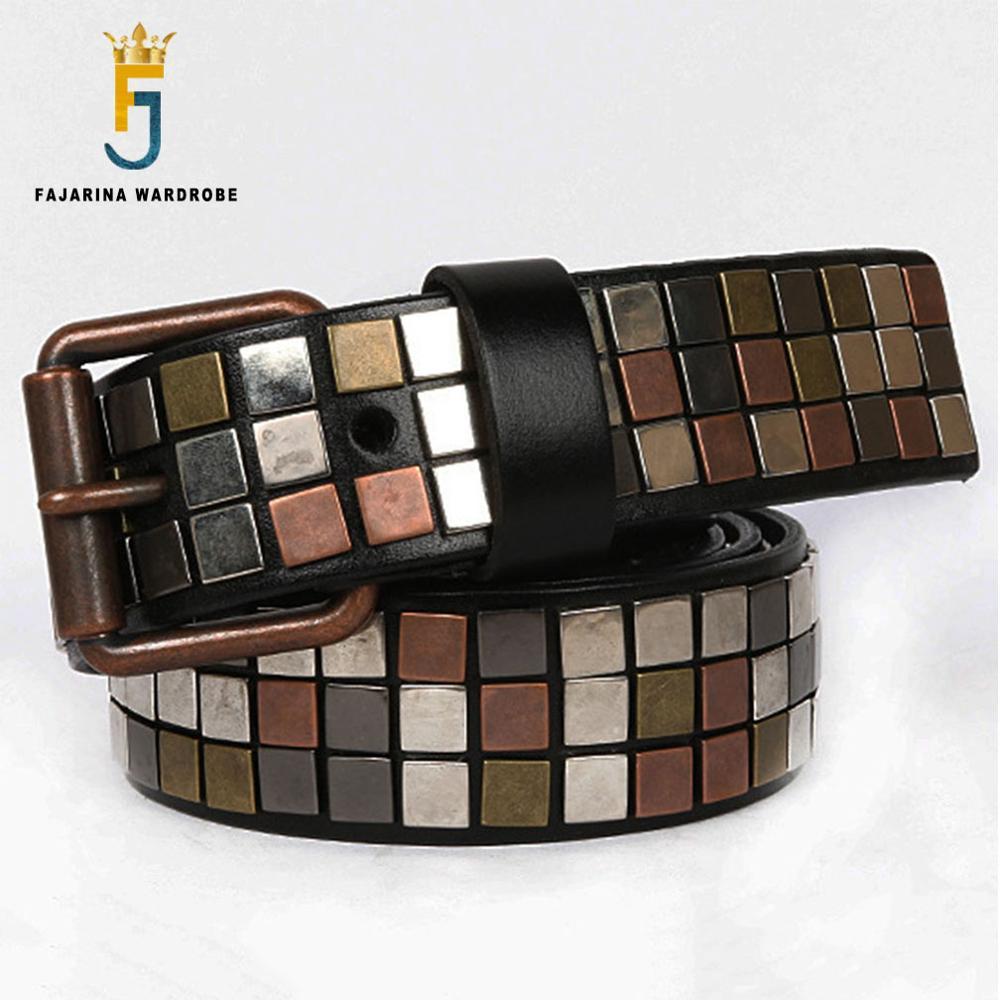US $40 5 46% OFF|Aliexpress com : Buy FAJARINA Brand Name New Unisex Design  Men's Metal Patch Cow Skin Leather Belt Unique Punk Styles Belts for Men &