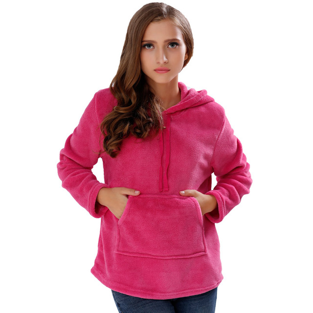 ae7a4b21869 Plus Size Coral Fleece Hoodies Hooded Sweatshirt Outerwear Hot Pink Warm  Pullover Hoodie For Women Girls