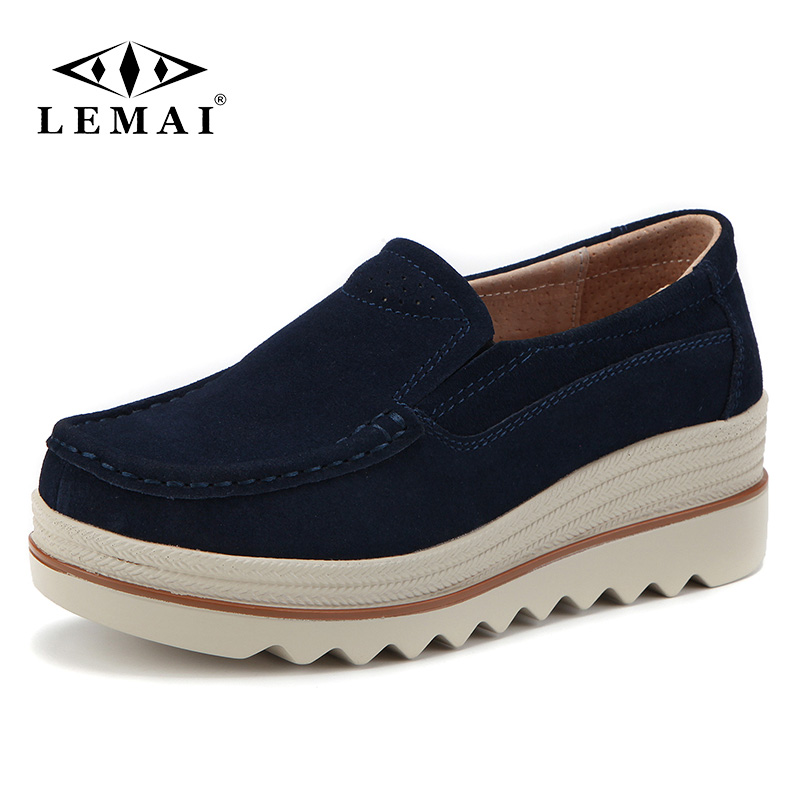 LEMAI 2018 Autumn women flats thick soled   leather     suede   platform sneakers shoes female casual shoes slip on flats creepers 3088