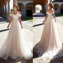 Off The Shoulder Lace Wedding Dress 2019 Elegant Sweetheart Lace Up Back Bridal Dresses Sweep Train Wedding Gowns Plus Size plus size off the shoulder flounce lace dress