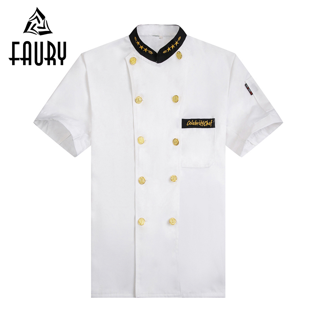 Men Unisex White Chef Kitchen Cooking Workwear Clothes Short Sleeve T-shirts Restaurant Cozinha Double-breasted Uniforms Jacket
