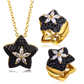 Cute Black Star Pendant Necklace & Earrings  Flower Design Anniversary Gift CZ  Jewelry Set For Women