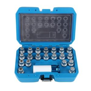 21 pçs bloqueio de roda lugnut anti-roubo parafuso manga remoção chave soquete conjunto para bmw 1/2 polegada 12.7mm adaptador de soquete