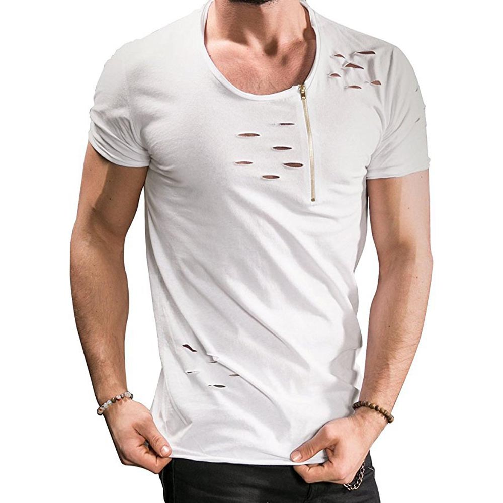 Summer Mens Fashion Cool t-särk tõmblukk augud Slim Tees brändi - Meeste riided - Foto 4