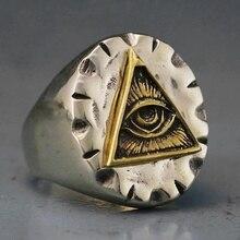 Men Stainless Steel Biker Ring Skull Gold Color Freemason Illuminati Triangle Masonic Rings Fashion Punk Jewelry светильник illuminati terrene md13003023 7a gold