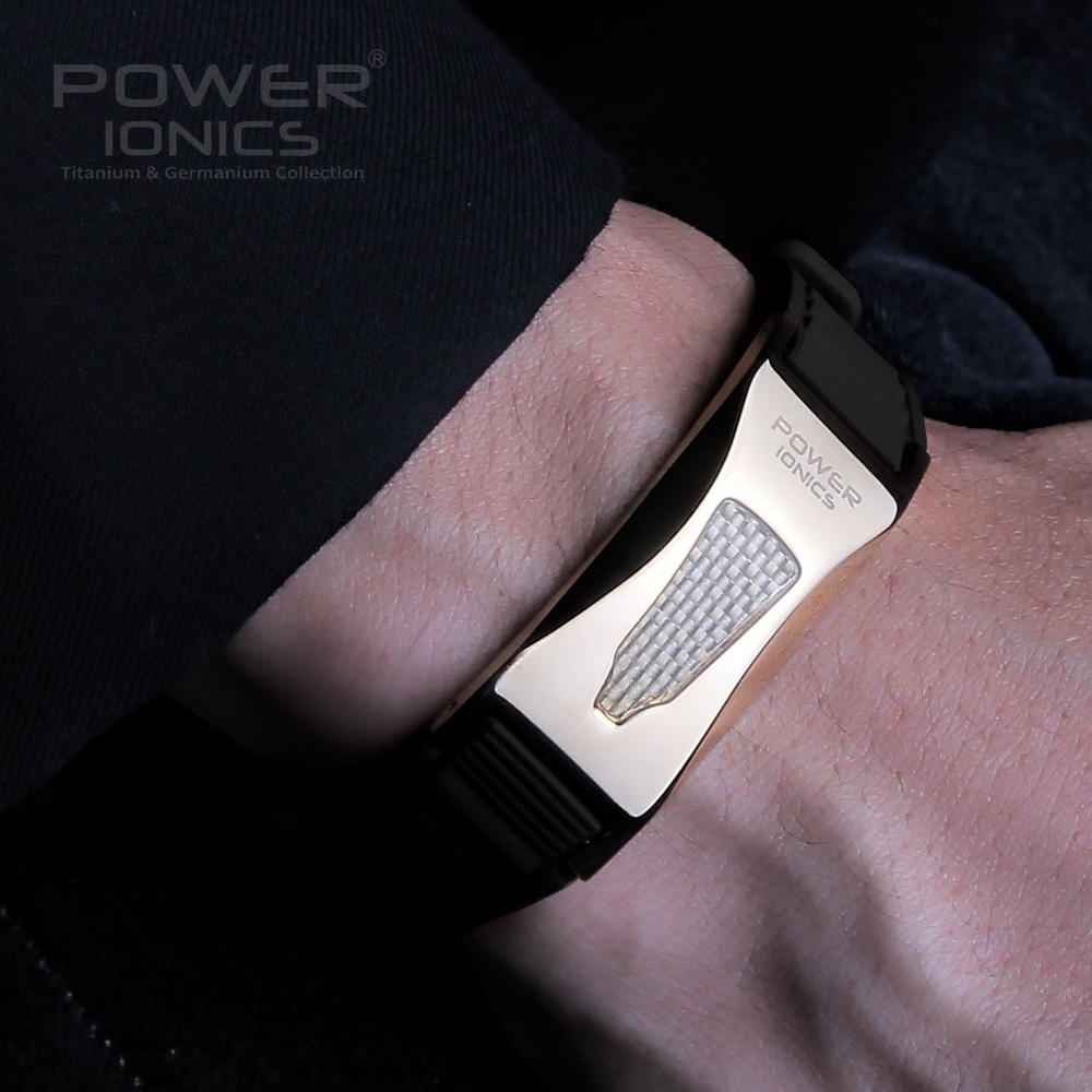 Power Ionics 3000ions / cc Full Throttle Titanium Germanium F.I.R Kolfiber Bio Golf Watch Armband-Begränsad utgåva Ankomst