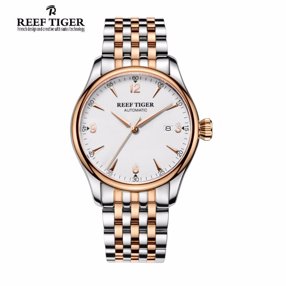 New 2017 Reef Tiger/RT Mens Top Luxury Analog Automatic Watches White Dial Simple Style Watch RGA823G yn e3 rt ttl radio trigger speedlite transmitter as st e3 rt for canon 600ex rt new arrival