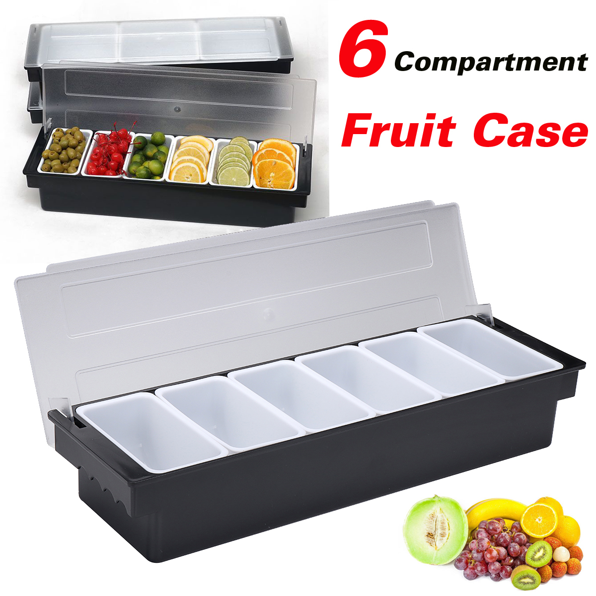 Kitchen 6 Compartment Seasoning Case Bar Condiment Box Holder Bar Drinks Fruit Garnish Cocktail Lime Lemo