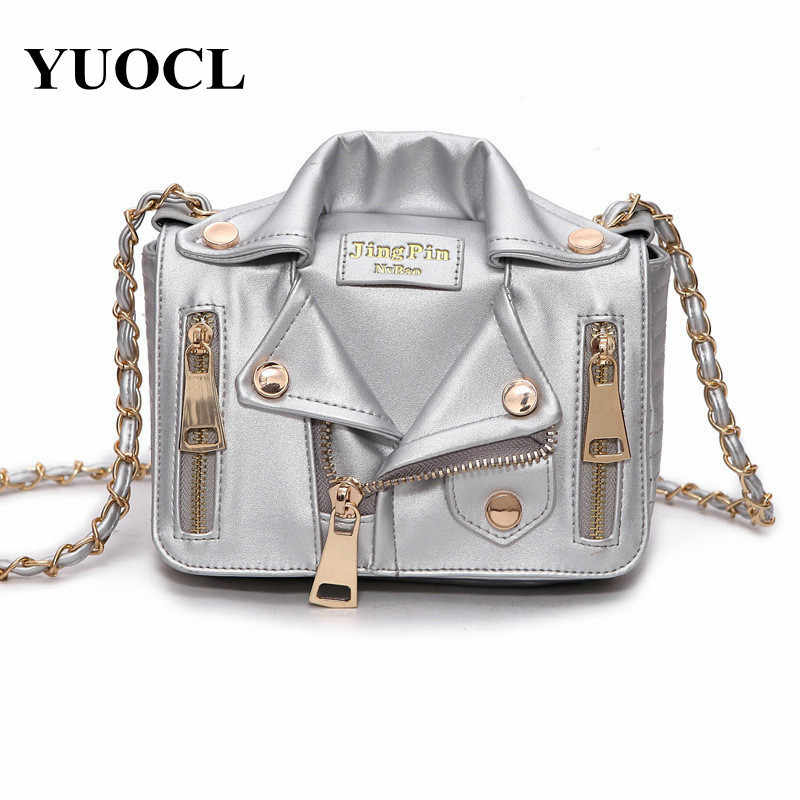 ec6a75317a95 2018 New European Brand Chain Motorcycle Bags Women Clothing Shoulder Rivet  Jacket Bags Messenger Bag Women