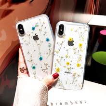 Dried Real Flower Handmade Clear Pressed Phone Case For iphone case 6 7 8 plus X XR Max Flowers Transparent Soft TPU Cover