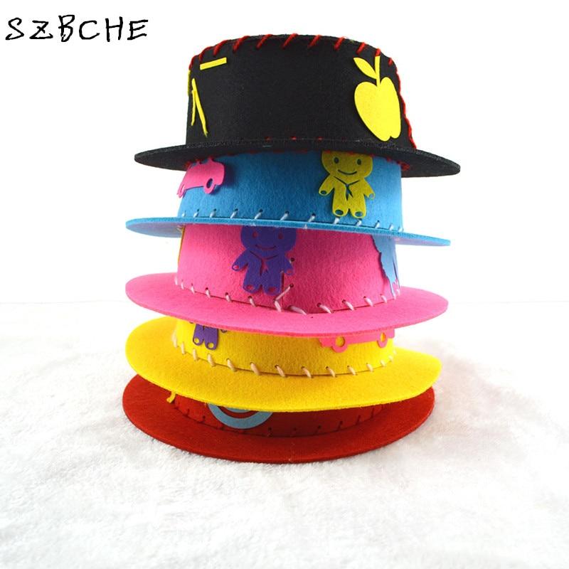 ᐊJuguetes educativos de los niños DIY no tejido sombrero niños 3D ...