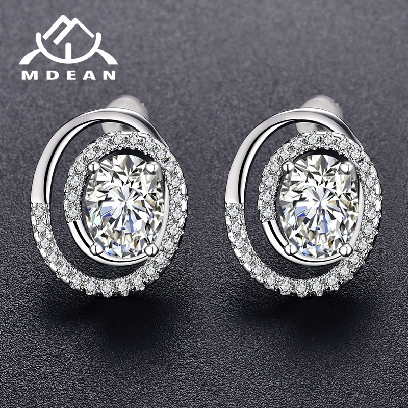 MDEAN Stud Earrings for Women White Gold Color Jewelry pink oval AAA zircon Boucle Doreille for Girl Wedding Brincos A077