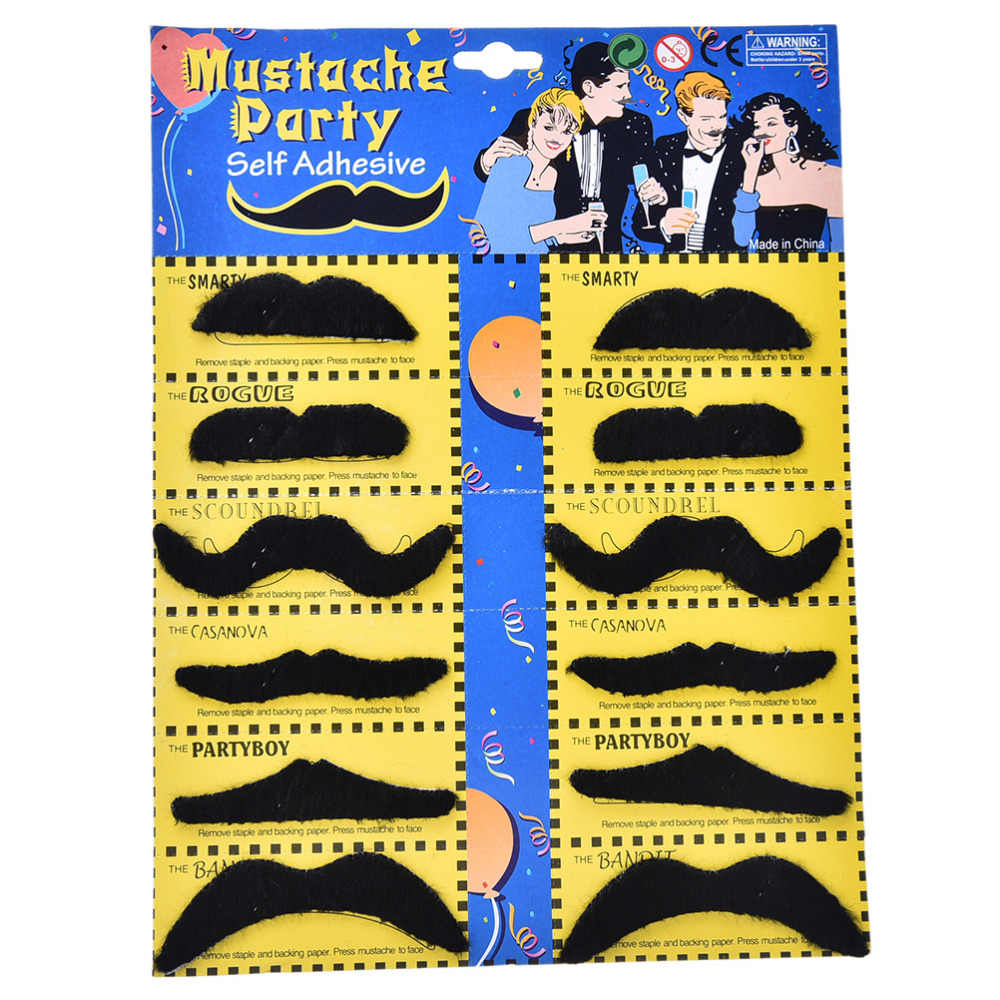 Barba finta Baffo Caldo In Tutto Il Mondo 12 pz/set Costume Del Partito di Halloween Divertente Baffi Moustache