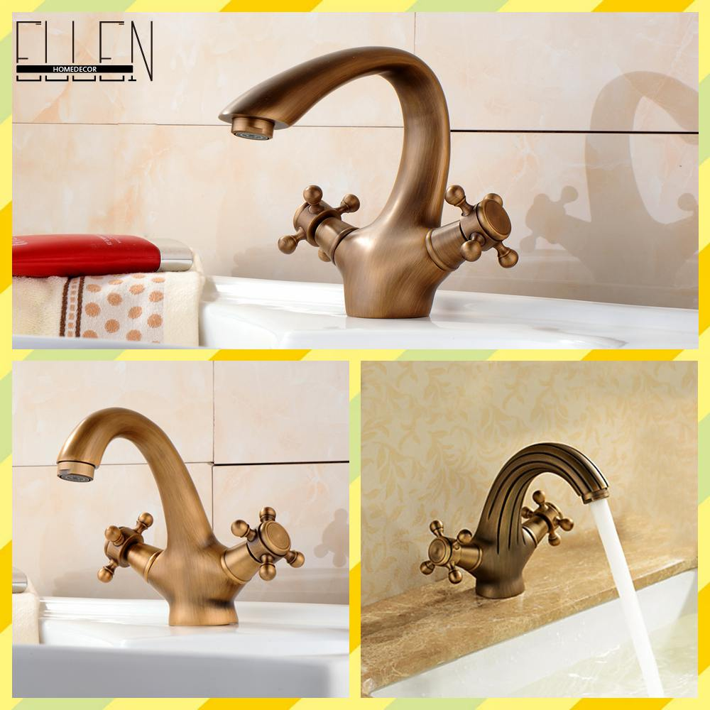 ФОТО Antique Faucet Bronze Brushed Sink Faucet Roma Style Vintage Basin Sink Mixer Cozinha
