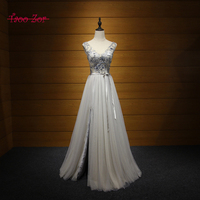 TaooZor Solemn Vintage Embroidery Flowers Beading Sequined Long Fitted A-Line Tulle Prom Dresses 2017 Party Gown Formal Dresses