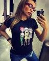 Harajuku Casual Lindo vestidos Lovely Girls Impreso Tops Camisetas 2016 Algodón Camisetas de Manga Corta Rematan Feminina regata